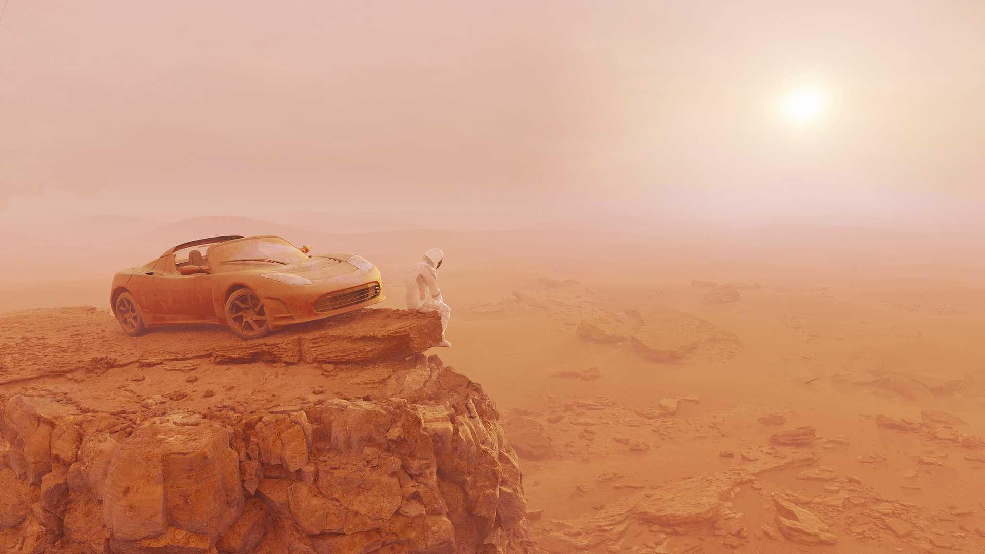 Life On Mars: l'uomo conquista Marte e porta immondizia e una Tesla Roadster