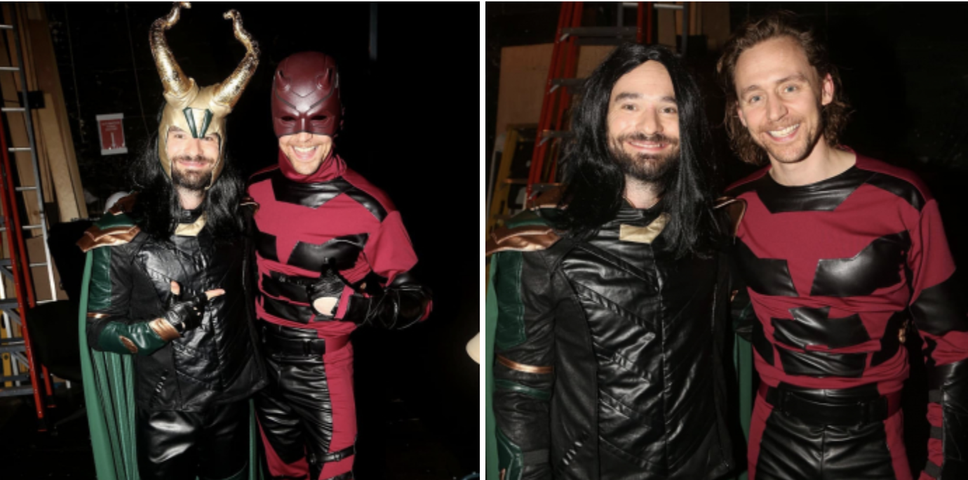 Tom Hiddleston e Charlie Cox si scambiano i supereroi in un party di Halloween