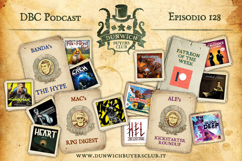 DBC 128 - Speciale Top 3 preview 2020: giochi di carte, indie GdR, Kickstarter special + Patreon of the week!