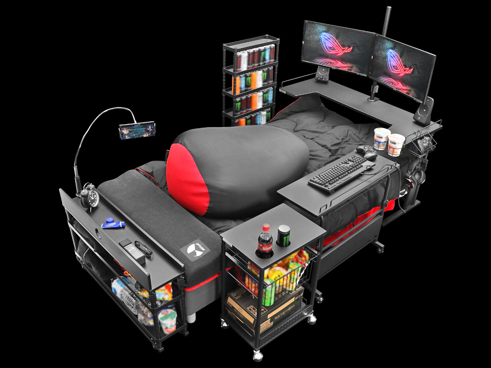 "japan has created the ultimate gaming bed so you never have to rejoin society again 1485 - Il Giappone crea il ""letto da gaming"": emblema di disagio e degrado sociale"