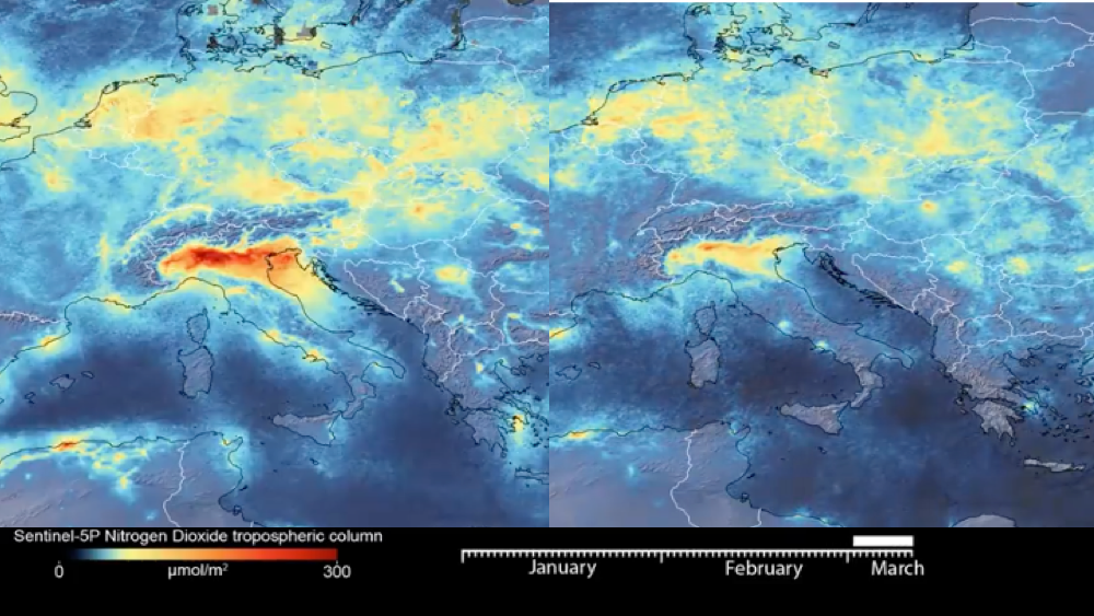 Coronavirus: aria più pulita in Italia, lo mostrano le immagini satellitari