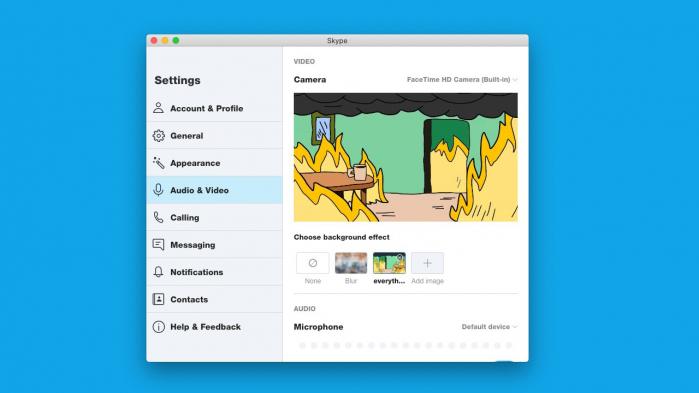 Skype opzioni sfondo
