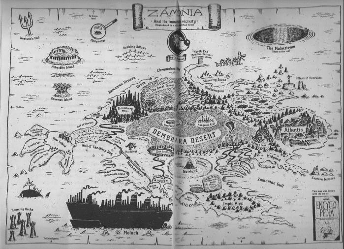 La mappa de Le tredici Vite e Mezzo del Capitano Orso Blu