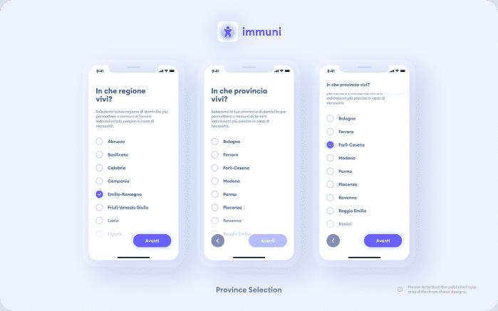 Immuni - Province Selection