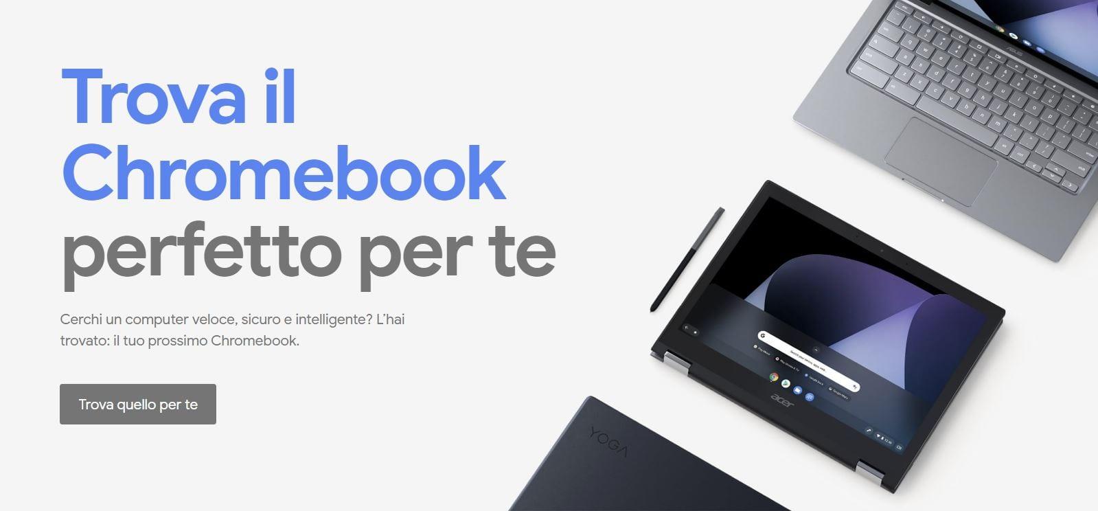 Chromebook, finalmente lo store online apre anche in Italia