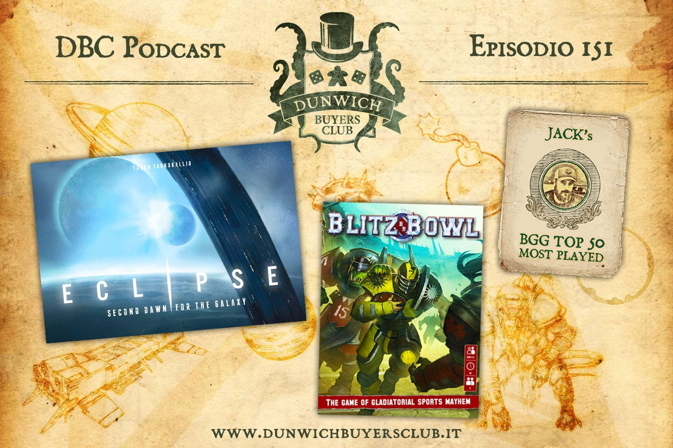 DBC 151: Top 50 BGG Most Played, Eclipse: Second Dawn for the Galaxy, Blitz Bowl