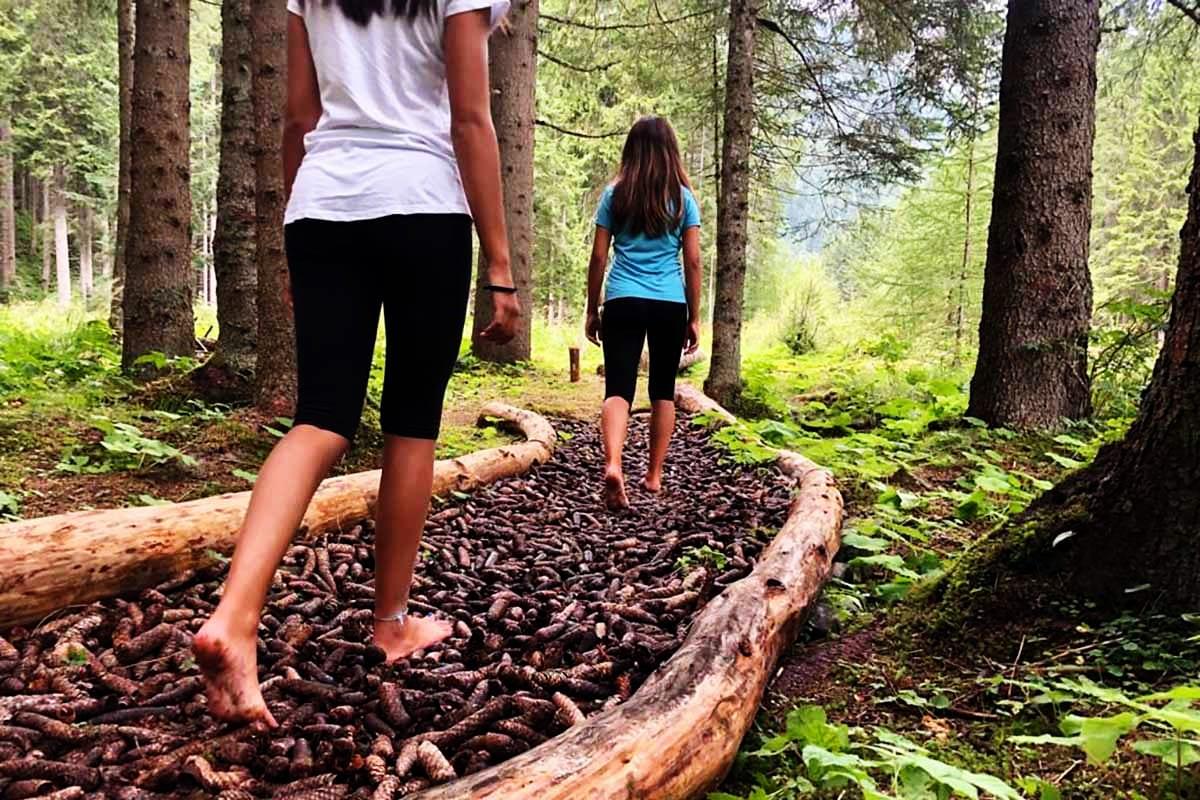 Passeggiata a piedi nudi nel bosco in Trentino Alto Adige