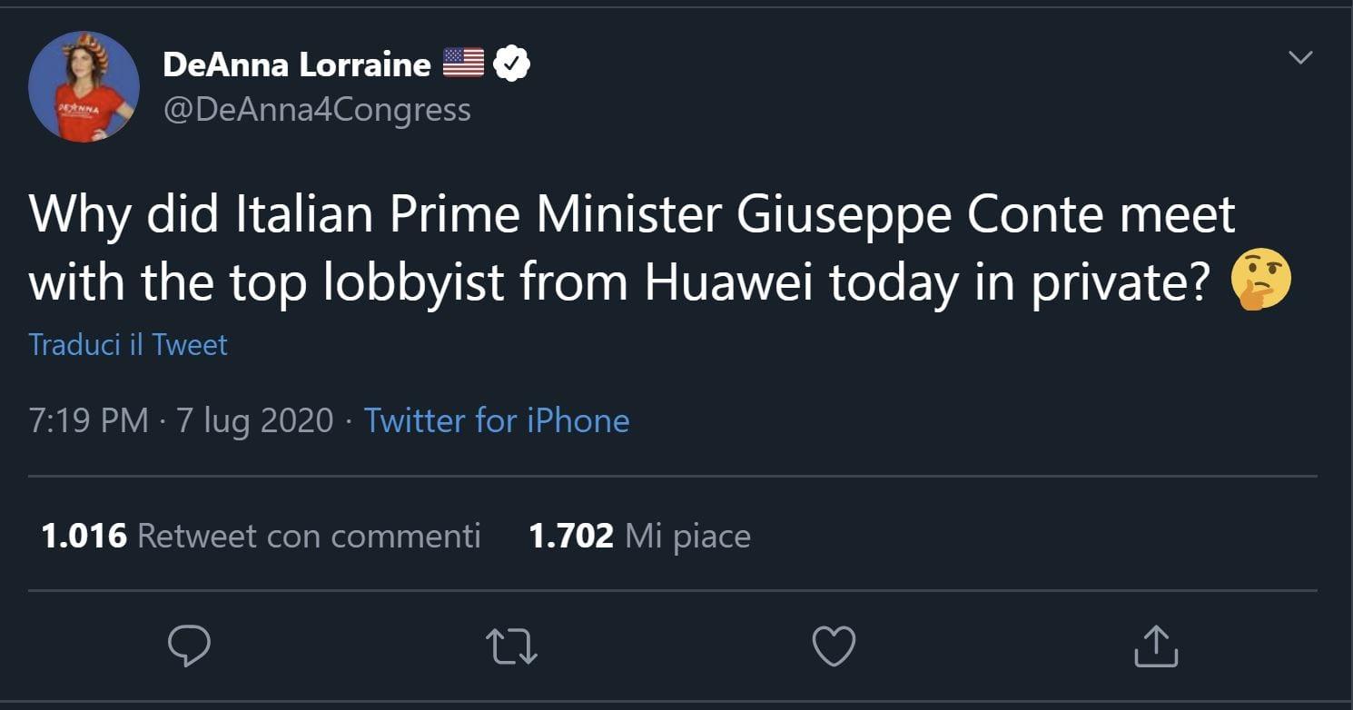 """""""Giuseppe Conte ha incontrato il più importante lobbista di Huawei"""", dice una politica americana"""