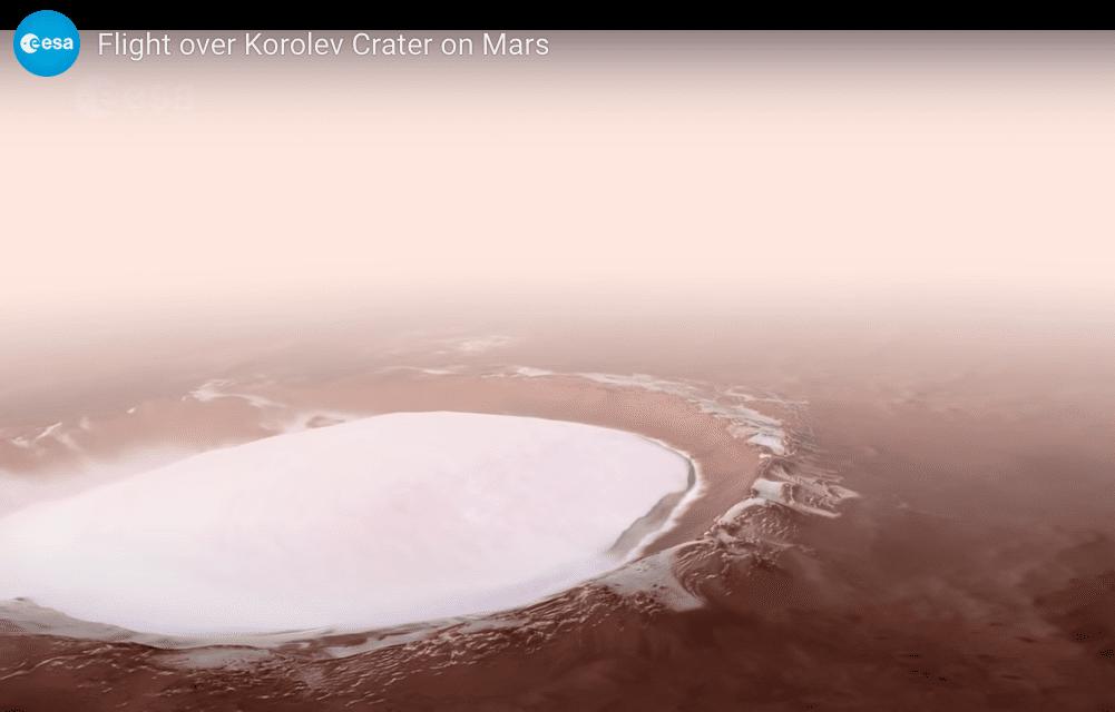 Korolev, il lago ghiacciato su Marte: uno spettacolare video dell'ESA