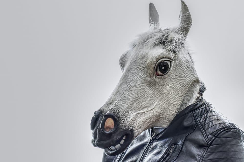 uomo con maschera di cavallo