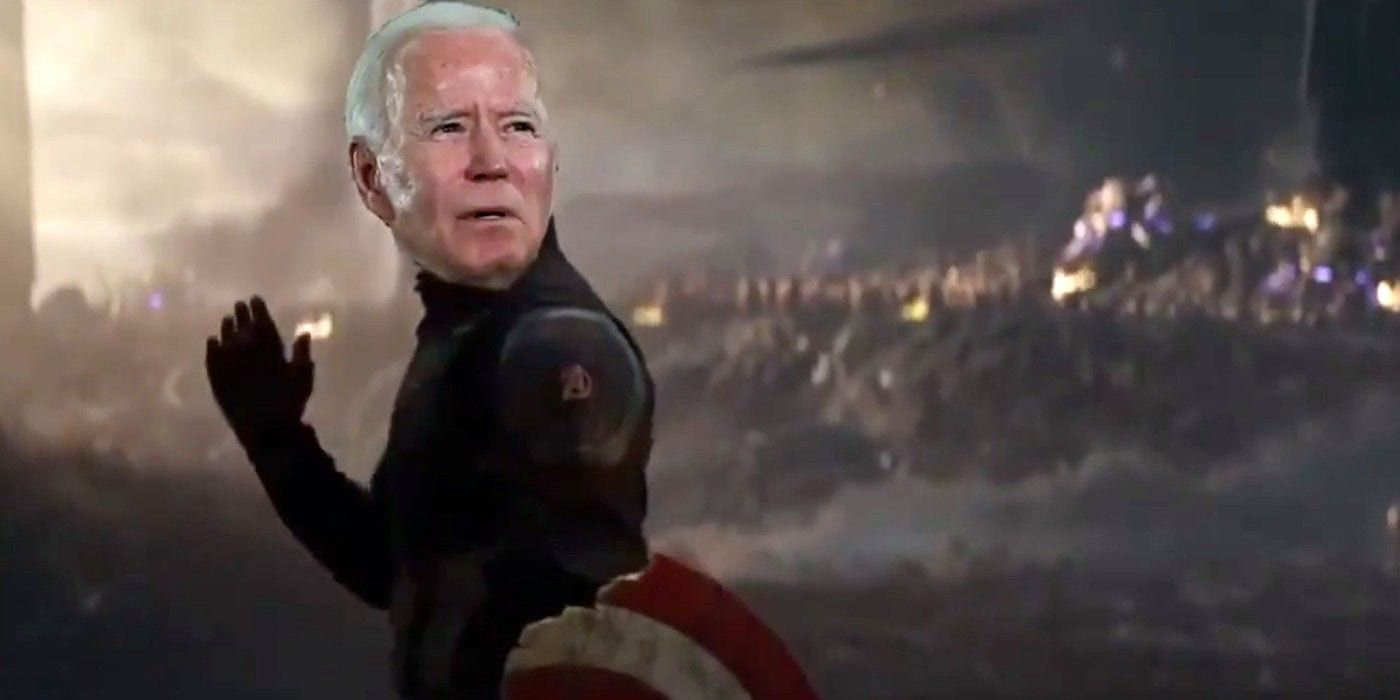 Joe Biden come Capitan America in una rielaborazione di Avengers: Endgame