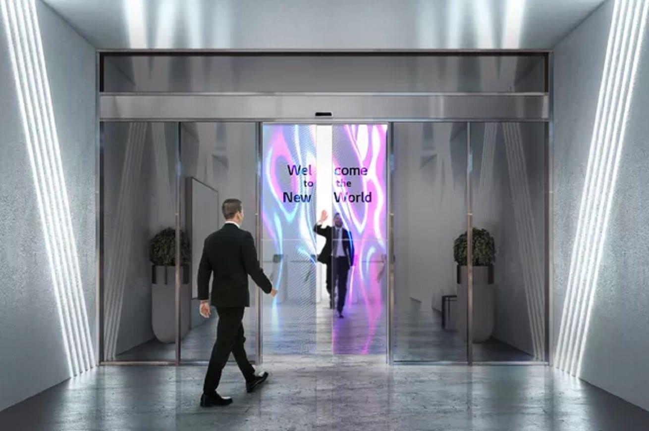Porte scorrevoli con display OLED trasparente, il progetto di LG