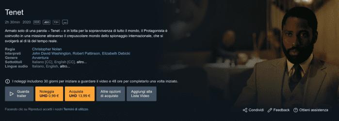Tenet: il film è a noleggio a 0.99€ su Amazon Prime Video
