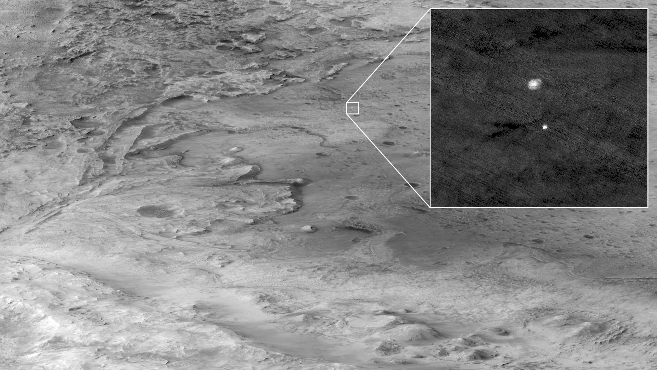 HiRISE: è riuscita a catturare la discesa del rover Perseverance