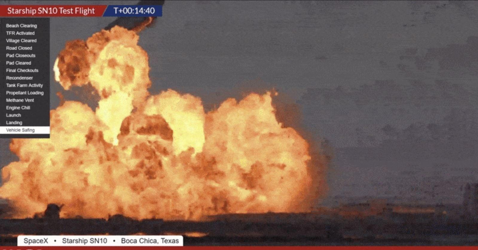 SpaceX Starship SN10: il video della violenta esplosione dopo l'atterraggio